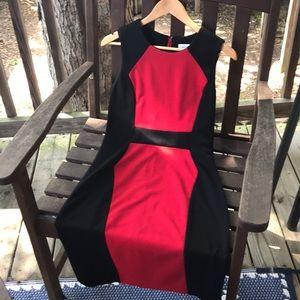 Black and red Calvin Klein color block midi dress